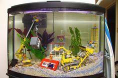 Lego construction site aquarium