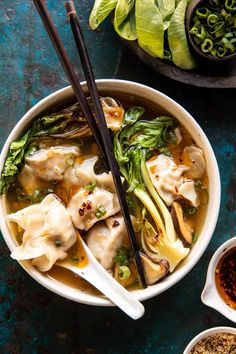 25 Minute Wonton Soup with Sesame Chili Oil: better than the takeout version, but quicker and healthier too...perfect on a cold winter night!