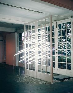 Wall breaking // stop motion // fluorescent tube light installation. Peter Blake, Neon Lighting, Interior Lighting, Light Art Installation, Art Installations, Fluorescent Tube Light, Bright Blue Eyes, Light Works, Contemporary Sculpture