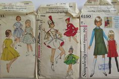3 Vintage patterns for girls, Simplicity by Waitingforgeorge on Etsy