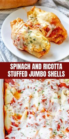 Spinach and Ricotta Stuffed Jumbo Shells are easy to make for busy weeknight dinners. Filled to the brim with spinach, mushrooms, and ricotta, they're hearty, tasty and sure to be a family favorite. Easy Dinner Recipes, Gourmet Recipes, Pasta Recipes, Cooking Recipes, Healthy Recipes, Ricotta Cheese Recipes Pasta, Cooking Pork, Oven Recipes, Noodle Recipes