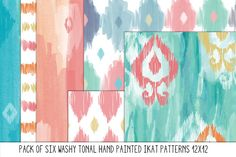 Hand Painted Tonal Ikat Patterns by Colors on Paper on Creative Market
