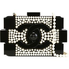Chanel Vintage Brick Pearl Clutch ($25,149) ❤ liked on Polyvore featuring bags, handbags, clutches, black, pearl handbag, vintage black purse, black purse, chanel pochette and vintage clutches