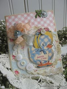Easter Duck card- Duck with easter bonnet EASTER IS HERE handmade card