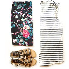 JCrew stripe muscle tee, Express floral skirt, Isola flat sandals