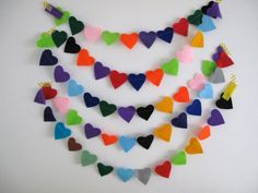 Confetti Garland // Rainbow Heart Felt Party by StampAndStitch Rainbow Heart, Felt Hearts, Confetti, Garland, Trending Outfits, Unique Jewelry, Handmade Gifts, Party, Etsy