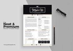 """Great Resume Examples """"Free Neat & Premium Resume Template Design"""" is a premium template for resumes at an excellent price. Available as a download for Adobe Illustrator, this absolutely free resume template design has bold styling and casts your name in the spotlight to help you stand out from the rest of the resume stack."""