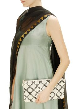 Black and white grid cutdana embroidered zipper clutch by Hemant and Nandita. Shop now: http://www.perniaspopupshop.com/designers/hemant-and-nandita #clutch #hemantandnandita #shopnow #perniaspopupshop