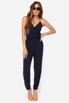 Learning to Fly Navy Blue Jumpsuit at Lulus.com!