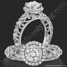 Only 1 available. A stunningly gorgeous diamond halo filigree engagement ring with patterned scrolls and vines encasing sparkling round brilliant bezel set diamonds. Engagement Rings Channel Set, Engagement Rings Sale, Victorian Engagement Rings, Unique Diamond Engagement Rings, Unique Rings, Beautiful Rings, Diamond Rings, Diamond Cuts, Wedding Rings
