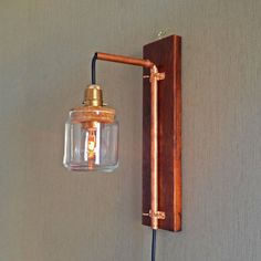 copper pipe lamp | Hanging Recycled Wooden Copper Pipe Wall Lamp, Modern Vintage ON SALE ...