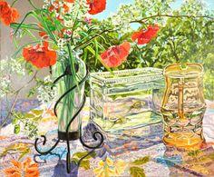 "Janet Fish (Born 1938), ""Orange Poppies / Fish Bowl"" - Vero Beach Museum of Art ~ Vero Beach, Florida, USA"