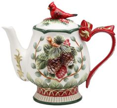Cosmos Gifts Evergreen Holiday Cardinal Tea Pot ** You can find more details by visiting the image link. Christmas China, Christmas Dishes, Christmas Tea, Coffee Server, Teapots And Cups, Tea Service, Chocolate Pots, Fine Porcelain, Painted Porcelain