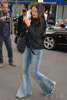 Fashion Street -Denim Flare Trousers - Milan SpringSummer 15