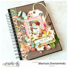 Mariusz's beautiful altered journal using Children's Hour and Petaloo flowers Scrapbook Cover, Scrapbook Journal, Journal Art, Art Journals, Altered Books, Altered Art, Art And Craft Design, Personalized Notebook, Graphic 45