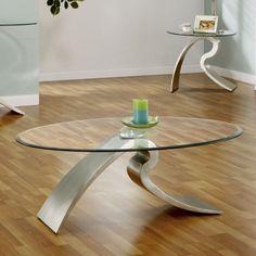 Federico Modern Metal and Glass Coffee Table