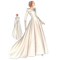 Marfy FS633 ~ beautiful neckline ~ the style reminds me of my mothers wedding dress from 1949 pinpointpattern