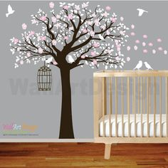Flower Tree Vinyl Wall Decal Tree with Birds Nursery wall sticker decal