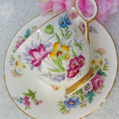DELPHINE Dawn Vintage Hand Painted Bone China Teacup and Saucer / Tea Party / Vintage Wedding
