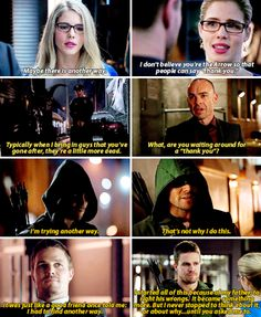Felicity showing Oliver that there is another way #Olicity #3.1 #3.16 <3