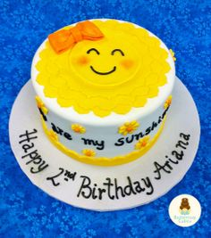 You Are My Sunshine Birthday Cake. Would say Happy 1st birthday Hannah