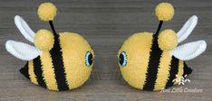 Ami Little Creature: Słodziaki - pszczółka Pola WZÓR Crochet Bee, Crochet Hooks, Bee Wings, Bee Free, Flat Nose, Electrical Tape, Eye Make, Color Change, Crochet Projects