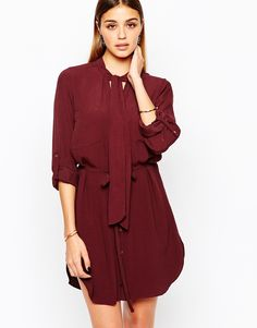 River Island Tie Neck Shirt Dress