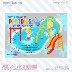 Splash Pad Invitation or Thank You Card by PinkPickleParties, $10.00