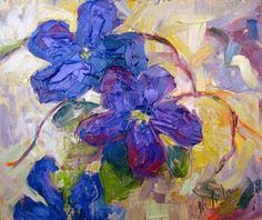 "Plein Air Artists International: ""Dancing in the Breeze"" Palette Knife Floral Paint..."