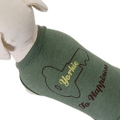 Yorkie to Happiness Dog T-Shirt in Olive I pinned this from the Posh Paws -  Stylish Pet Beds 5fa62af47da