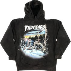 Thrasher Magazine 13 Wolves Black Tie Dye Hooded Sweatshirt Small ($68) ❤ liked on Polyvore featuring tops, hoodies, jackets, outerwear, sweaters, hooded pullover, sweatshirt hoodies and hooded sweatshirt