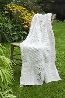 """Sampler Throw, Free Crochet Pattern (no. 70801AD) from Lion Brand (similar to but not an exact replica of their Fisherman's Sampler Throw). Four 8"""" squares with a K hook:  Popcorn, Shell, Shell & V-stitch, & Diamond. #crochetafghans"""