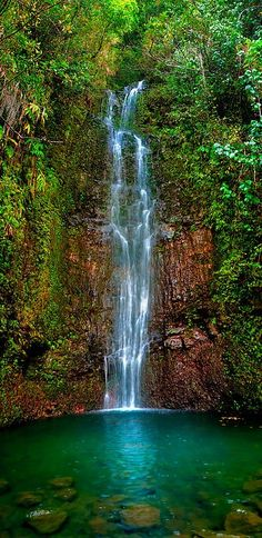 Serene Waterfall, Maui, Hawaii Travel and see the world Dream Vacations, Vacation Spots, Vacation Travel, Places To Travel, Places To See, Places Around The World, Around The Worlds, Hawaii Travel, Maui Hawaii