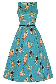 Tyrkysové šaty s vesmírnými kamarády Lady V London Audrey Style Wish, Pitch Perfect, Lady V, Teal Blue, Flare Dress, Trending Outfits, Feminine, Retro, Turquoise