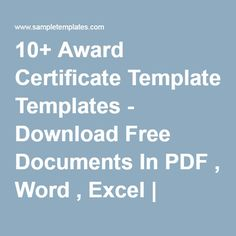 10+ Award Certificate Templates - Download Free Documents In PDF , Word , Excel   Sample Templates