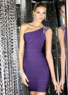 Alyce Paris 5538 – Purple One Shoulder Banded Jersey Homecoming Dress