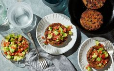 Chipotle Black Bean Burgers With Avocado Salsa
