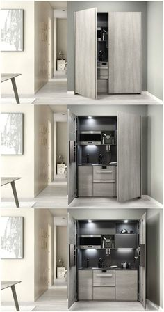 Nine stunning kitchenettes from around the world A kitchenette is a mini-kitchen that at minimum usually has a fridge and a microwave, but some designs pack an impressive amount of functions into a small spa Micro Kitchen, Hidden Kitchen, Compact Kitchen, Kitchen Small, Kitchen Ideas, Small Kitchens, Small Bathrooms, Kitchen Decor, Kitchen Modular