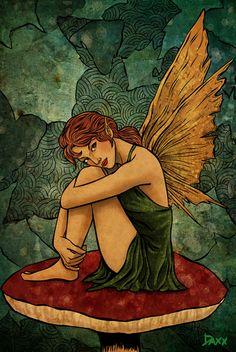 Mushroom Fairy by daxxbondoc on DeviantArt Fairy Drawings, Fantasy Drawings, Fantasy Art, Arte Grunge, Grunge Art, Mushroom Drawing, Mushroom Art, Fairy Paintings, Kobold