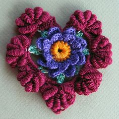 Crochet Floral Fantasy Valentine Heart - Tutorial - free pattern from Ravelry