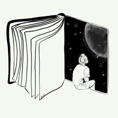 Reading is Dreaming with Your Eyes Open by Henn Kim Vector line art drawing / il. Sad Drawings, Cool Art Drawings, Pencil Art Drawings, Art Drawings Sketches, Stylo Art, Anime Kunst, Pen Art, Art Sketchbook, Oeuvre D'art