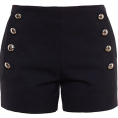 Chloé Buttoned Shorts (€735) ❤ liked on Polyvore featuring shorts, black, chloe shorts, button shorts, black shorts and nautical shorts