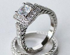 cz ring, cz wedding ring, cz engagement ring, wedding ring set, ring set, cz wedding set halo cubic zirconia size 5 6 7 8 9 10 - MC1083001AZ