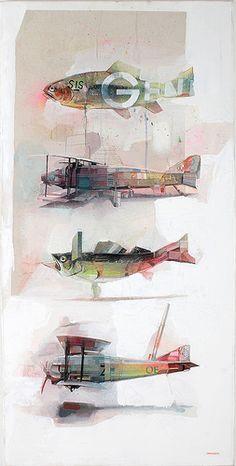 Avion poisson - art graphique pêche -ZOERCSX-