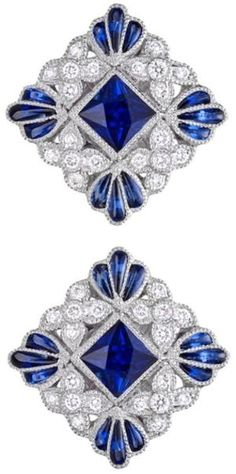 Fashion Jewellery Antique | RosamariaGFrangini | Lucie Campbell Square-Shaped Sapphire & Diamond Stud Earrings.     Square-shaped sapphire and diamond stud earrings, centering on a larger square-cut sapphire surrounded by circular-cut diamonds and calibre-cut sapphires, the sapphires weighing approximately 1.03 total carats and diamonds weighing approximately 0.29 total carats, mounted in 18k white gold, with posts and friction backs, designed by Lucie Campbell. by fannie