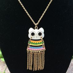 (J3) Owl Tassel Necklace This is a cute colorful owl with gold toned chain and tassels. Very fun piece! NWT not sure of length without removing the tag from necklace. Jewelry Necklaces