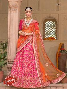 Pink & Orange Net & Silk Embroidered Lehenga Saree