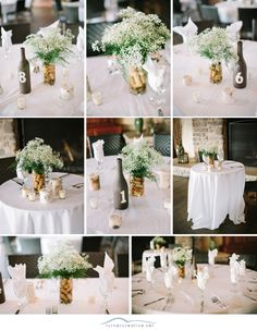 Painted bottles and corks make simple yet lovely decorations on these tables at a rustic vineyard wedding :: Turner Creative Photography