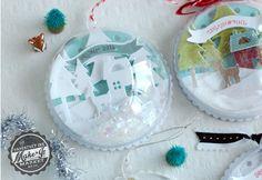 Boule de neige, à suspendre ou poser, faite avec une demi boule transparente garnie de découpes de papier collées en 3D et des paillettes de fausse neige... - tutoriel en vidéo