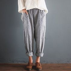 Buy ZANZEA Women's Pants Loose Cotton and Linen Stripes Casual Trousers Radish Pants Harem Pants at Walmart.com